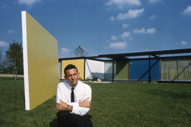 Emil tessin, at a house he designed. The date is unknown. Photograph by Phillip Harrington, for Look Magazine.