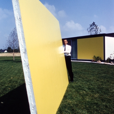 Emil Tessin, architect and designer, at a mid-century modern he designed that is under construction. Photograph by Phillip Harrington, for Look Magazine.